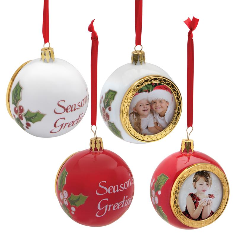 Porcelain christmas holiday photo ornament christmas tree for Holiday christmas ornaments